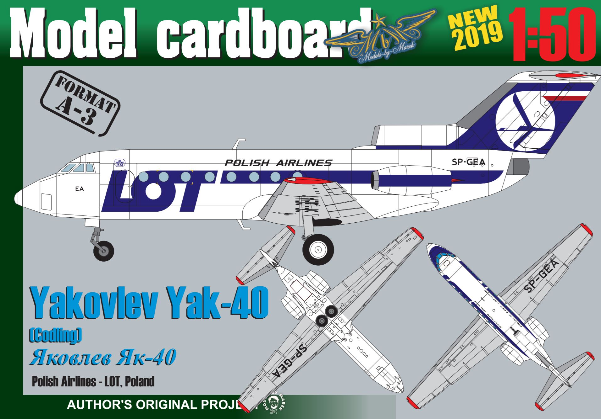 Yakovlev Yak-40 Polish Airlines LOT, Scale 1:50